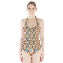 Round Color Halter Swimsuit