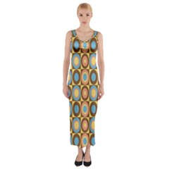 Round Color Fitted Maxi Dress