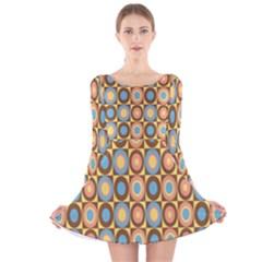 Round Color Long Sleeve Velvet Skater Dress