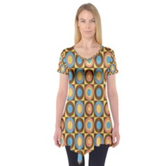 Round Color Short Sleeve Tunic