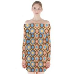 Round Color Long Sleeve Off Shoulder Dress