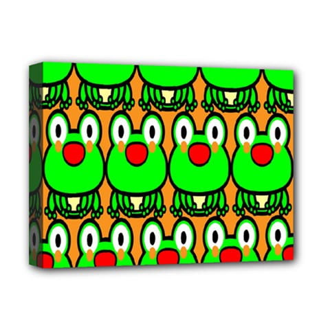 Sitfrog Orange Face Green Frog Copy Deluxe Canvas 16  x 12