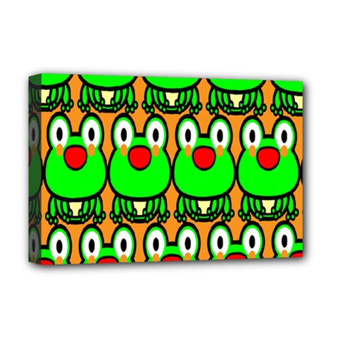 Sitfrog Orange Face Green Frog Copy Deluxe Canvas 18  x 12