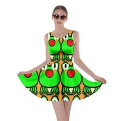 Sitfrog Orange Face Green Frog Copy Skater Dress