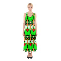 Sitfrog Orange Face Green Frog Copy Sleeveless Maxi Dress