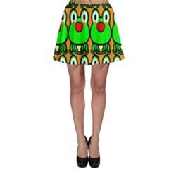 Sitfrog Orange Face Green Frog Copy Skater Skirt