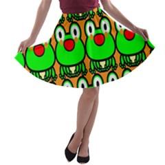 Sitfrog Orange Face Green Frog Copy A-line Skater Skirt