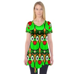 Sitfrog Orange Face Green Frog Copy Short Sleeve Tunic