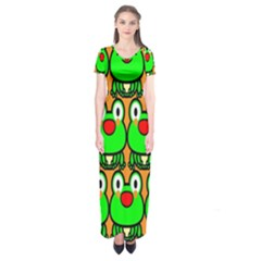 Sitfrog Orange Face Green Frog Copy Short Sleeve Maxi Dress