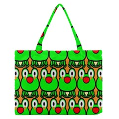 Sitfrog Orange Face Green Frog Copy Medium Zipper Tote Bag