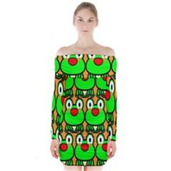Sitfrog Orange Face Green Frog Copy Long Sleeve Off Shoulder Dress