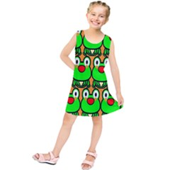 Sitfrog Orange Face Green Frog Copy Kids  Tunic Dress
