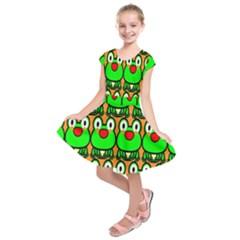 Sitfrog Orange Face Green Frog Copy Kids  Short Sleeve Dress