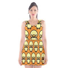 Small Duck Yellow Scoop Neck Skater Dress