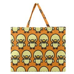 Small Duck Yellow Zipper Large Tote Bag