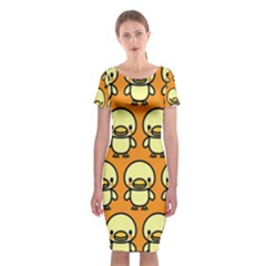 Small Duck Yellow Classic Short Sleeve Midi Dress