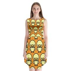 Small Duck Yellow Sleeveless Chiffon Dress