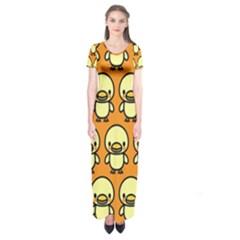 Small Duck Yellow Short Sleeve Maxi Dress