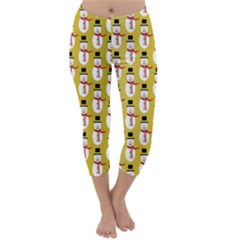 Snowman Green Capri Winter Leggings