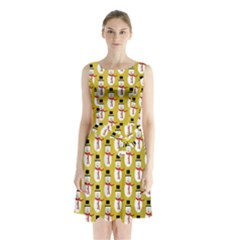 Snowman Green Sleeveless Chiffon Waist Tie Dress