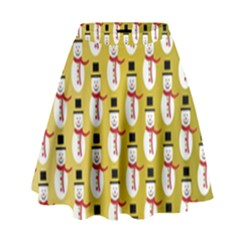 Snowman Green High Waist Skirt