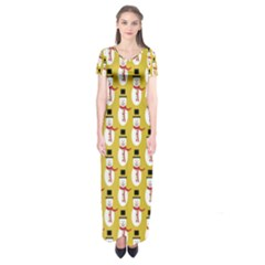 Snowman Green Short Sleeve Maxi Dress