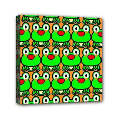 Sitfrog Orange Green Frog Mini Canvas 6  x 6