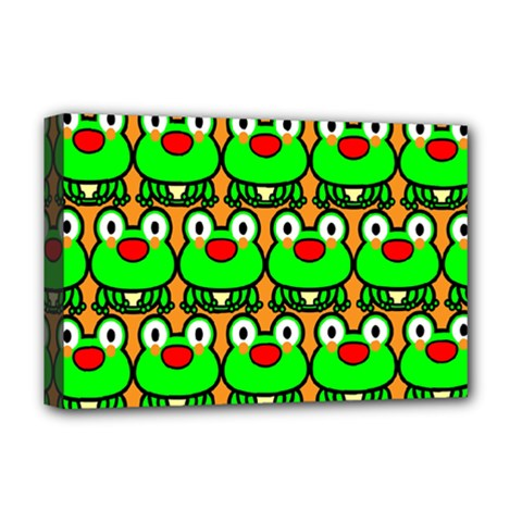 Sitfrog Orange Green Frog Deluxe Canvas 18  x 12