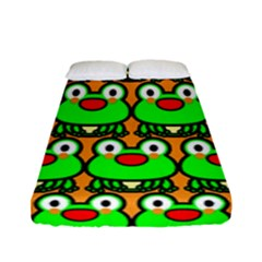 Sitfrog Orange Green Frog Fitted Sheet (full/ Double Size)