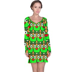 Sitfrog Orange Green Frog Long Sleeve Nightdress