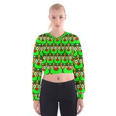 Sitfrog Orange Green Frog Women s Cropped Sweatshirt