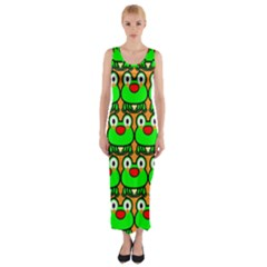 Sitfrog Orange Green Frog Fitted Maxi Dress