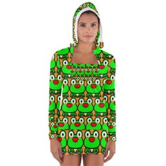 Sitfrog Orange Green Frog Women s Long Sleeve Hooded T-shirt