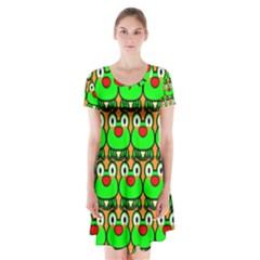 Sitfrog Orange Green Frog Short Sleeve V-neck Flare Dress