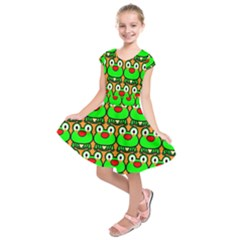 Sitfrog Orange Green Frog Kids  Short Sleeve Dress