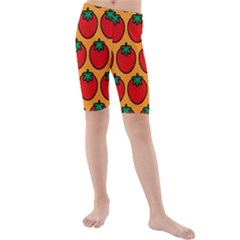 Strawberry Orange Kids  Mid Length Swim Shorts