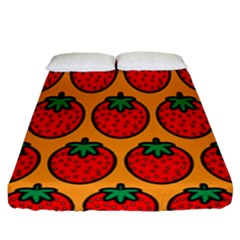 Strawberry Orange Fitted Sheet (queen Size)