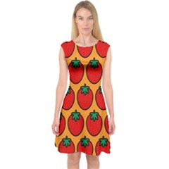 Strawberry Orange Capsleeve Midi Dress