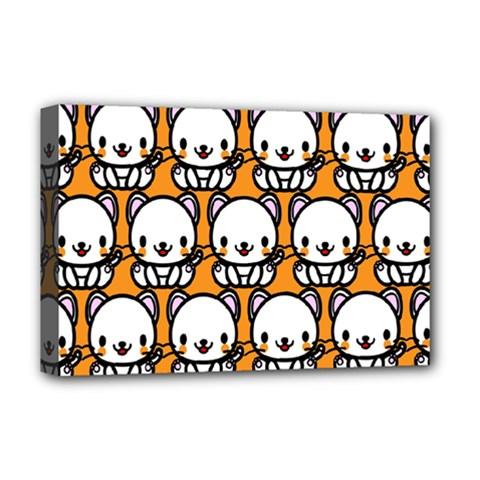 Sitwhite Cat Orange Deluxe Canvas 18  x 12