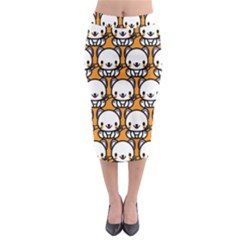 Sitwhite Cat Orange Midi Pencil Skirt