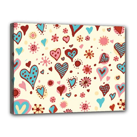 Valentine Heart Pink Love Canvas 16  x 12