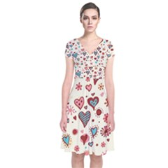 Valentine Heart Pink Love Short Sleeve Front Wrap Dress