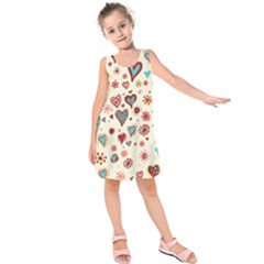 Valentine Heart Pink Love Kids  Sleeveless Dress