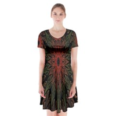 Sun Short Sleeve V Neck Flare Dress