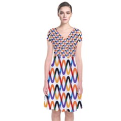 Wave Rope Short Sleeve Front Wrap Dress