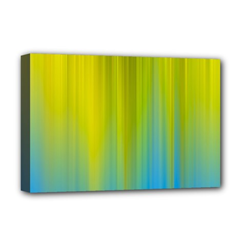 Yellow Blue Green Deluxe Canvas 18  x 12