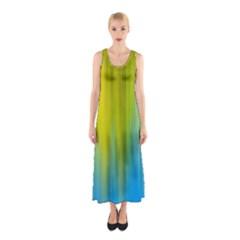 Yellow Blue Green Sleeveless Maxi Dress
