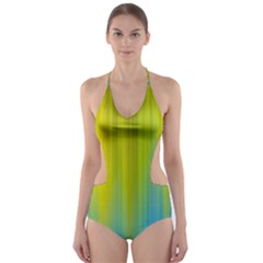 Yellow Blue Green Cut-Out One Piece Swimsuit