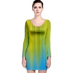 Yellow Blue Green Long Sleeve Velvet Bodycon Dress