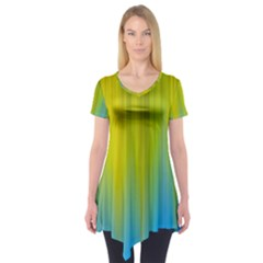 Yellow Blue Green Short Sleeve Tunic